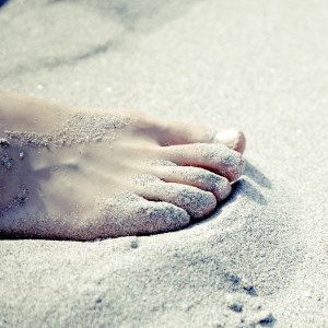 picture of foot in sand